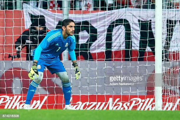 Goalkeeper Jose Jesus Corona of Mexico watches the ball during the International Friendly match between Poland and Mexico at Energa Arena Stadium on...