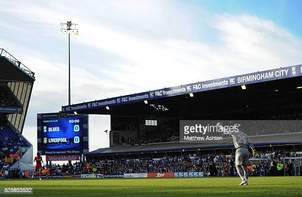 Goalkeeper Jose Manuel Reina of Liverpool as the television screen at St Andrews Stadium the home of Birmingham City showing Birmingham City 00...