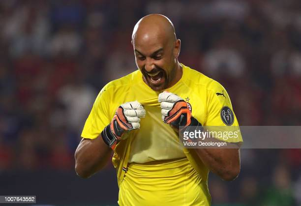 Goalkeeper Jose Reina of AC Milan reacts during the penalty shootout against Manchester United in the International Champions Cup 2018 match at...