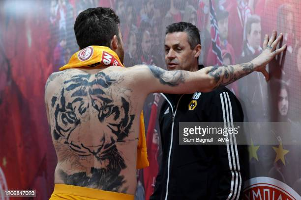 Goalkeeper Jose Sa of Olympiacos FC with tiger tattoo during the UEFA Europa League round of 16 first leg match between Olympiacos FC and...