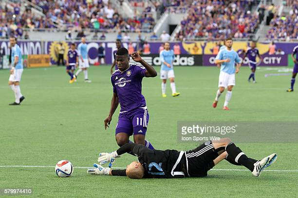 Goalkeeper Josh Saunders of New York City FC makes the save against Carlos Rivas of Orlando City SC during the MLS game between the New York City FC...
