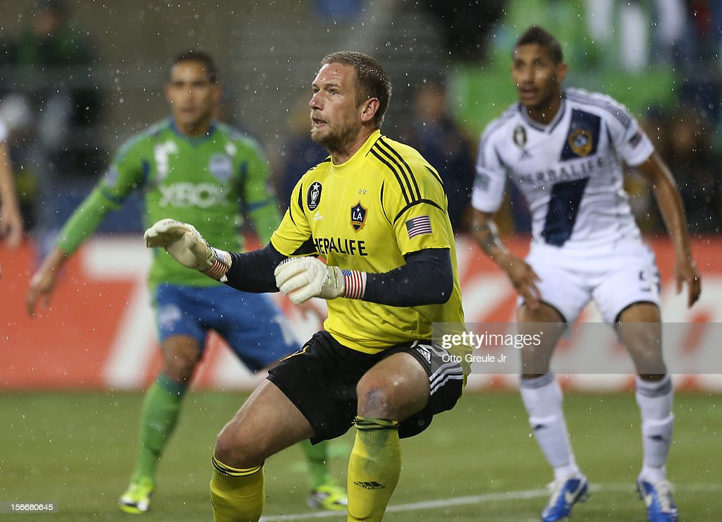 Goalkeeper Josh Saunders #12 of the Los Angeles Galaxy follows the play against the Seattle Sounders FC during Leg 2 of the Western Conference Championship at CenturyLink Field on November 18, 2012 in Seattle, Washington. The Galaxy defeated the Sounders 2-1, winning the aggregate playoff 4-2.