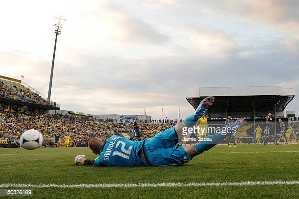 Goalkeeper Josh Saunders of the Los Angeles Galaxy is unable to make the stop on a shot from Jairo Arrieta of the Columbus Crew in the second half on...