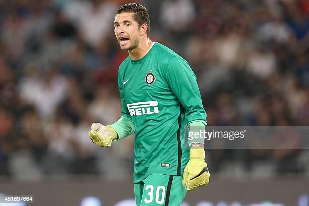 Goalkeeper Juan Pablo Carrizo of Inter Milan in action during the International Champions Cup match between AC Milan and Inter Milan at Longgang...