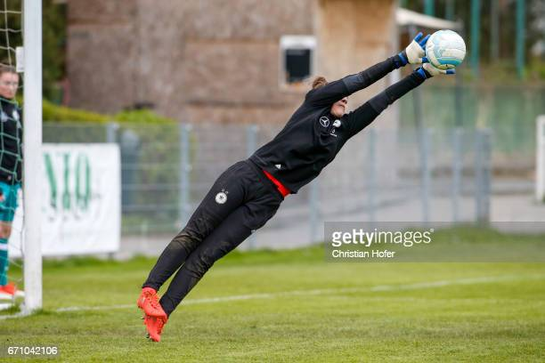 Goalkeeper Julia Kassen in action during the warm up session prior to the Under 15 girls international friendly match between Czech Republic and...