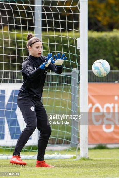 Goalkeeper Julia Kassen of Germany in action during the warm up session prior to the Under 15 girls international friendly match between Czech...