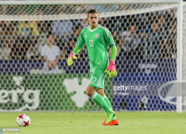 Goalkeeper Julian Pollersbeck of Germany in action during the UEFA U21 championship match between Italy and Germany at Krakow Stadium on June 24 2017...