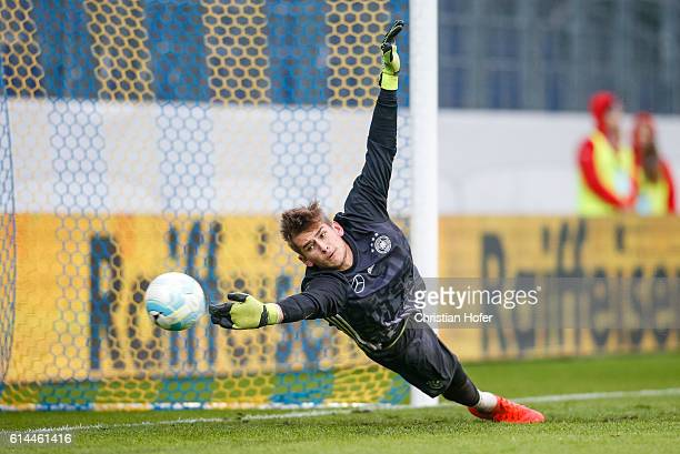 Goalkeeper Julian Pollersbeck of Germany in action during the warmup session prior to the 2017 UEFA European U21 Championships Qualifier between U21...