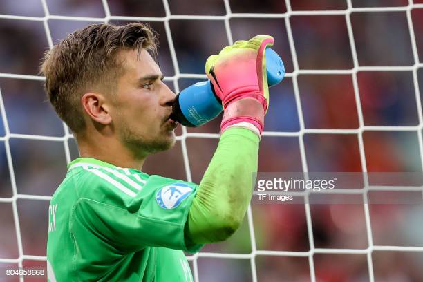 Goalkeeper Julian Pollersbeck of Germany trinkt during the UEFA European Under21 Championship Semi Final match between England and Germany at Tychy...