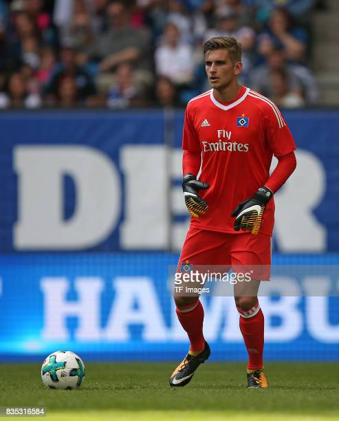 Goalkeeper Julian Pollersbeck of Hamburg controls the ball during the preseason friendly match between Hamburger SV and Espanyol Barcelona on August...