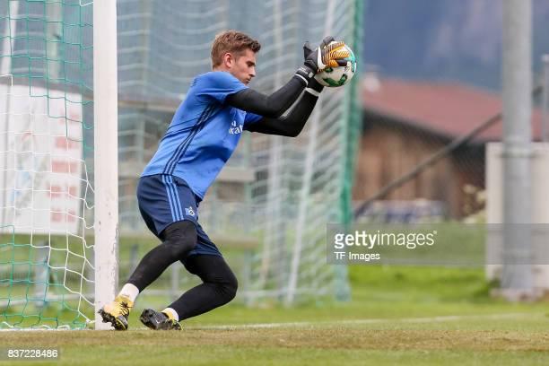 Goalkeeper Julian Pollersbeck of Hamburg controls the ball during the Training Camp of Hamburger SV on July 22 2017 in Laengenfeld Austria
