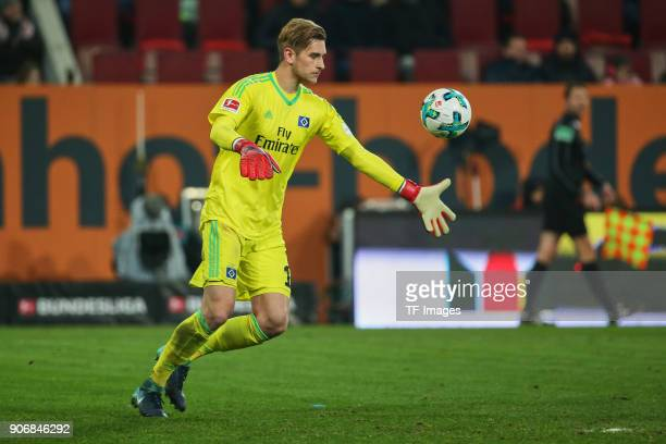 Goalkeeper Julian Pollersbeck of Hamburg controls the ball during the Bundesliga match between FC Augsburg and Hamburger SV at WWKArena on January 13...