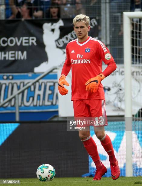 Goalkeeper Julian Pollersbeck of Hamburg controls the ball during the Bundesliga match between TSG 1899 Hoffenheim and Hamburger SV at Wirsol...