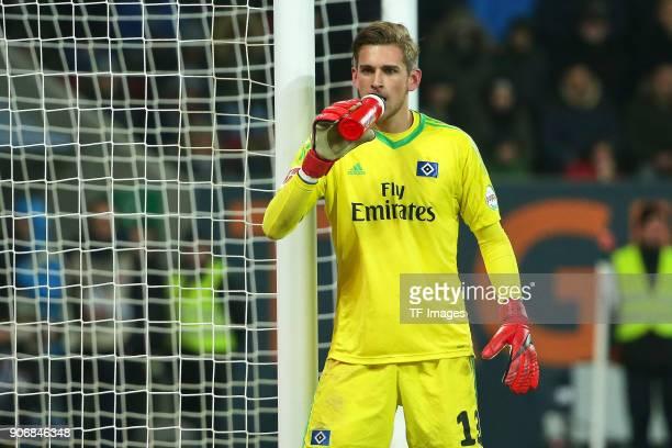 Goalkeeper Julian Pollersbeck of Hamburg drinks during the Bundesliga match between FC Augsburg and Hamburger SV at WWKArena on January 13 2018 in...