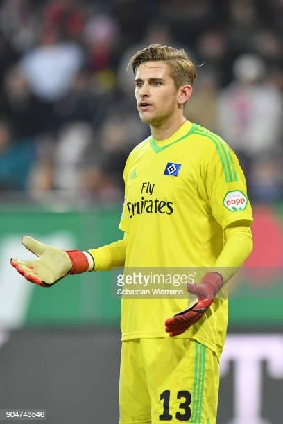Goalkeeper Julian Pollersbeck of Hamburg gestures during the Bundesliga match between FC Augsburg and Hamburger SV at WWKArena on January 13 2018 in...