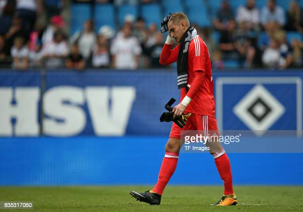 Goalkeeper Julian Pollersbeck of Hamburg looks on duringthe preseason friendly match between Hamburger SV and Espanyol Barcelona on August 6 2017 in...