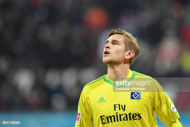 Goalkeeper Julian Pollersbeck of Hamburg looks up during the Bundesliga match between FC Augsburg and Hamburger SV at WWKArena on January 13 2018 in...