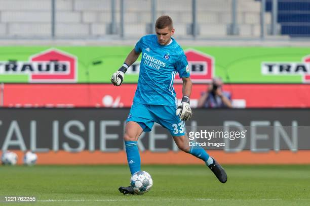 Goalkeeper Julian Pollersbeck of Hamburger SV controls the Ball during the Second Bundesliga match between 1. FC Heidenheim 1846 and Hamburger SV at...