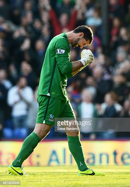Goalkeeper Julian Speroni of Crystal Palace celebrates following his team's 10 victory during the Barclays Premier League match between Crystal...