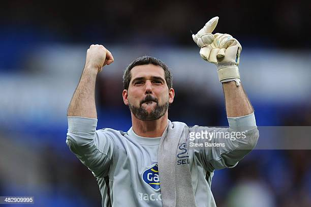 Goalkeeper Julian Speroni of Crystal Palace celebrates his team's 30 victory during the Barclays Premier League match between Cardiff City and...