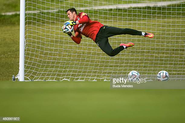 Goalkeeper Julio Cesar in action during a training session of the Brazilian national football team at the squad's Granja Comary training complex on...