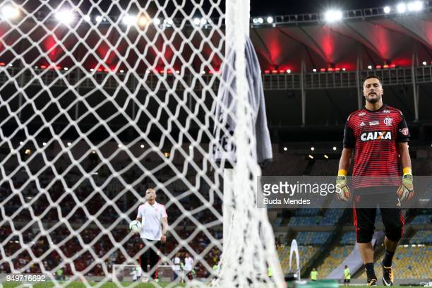 Goalkeeper Julio Cesar of Flamengo warms up before a match between Flamengo and America MG as part of Brasileirao Series A 2018 at Maracana Stadium...