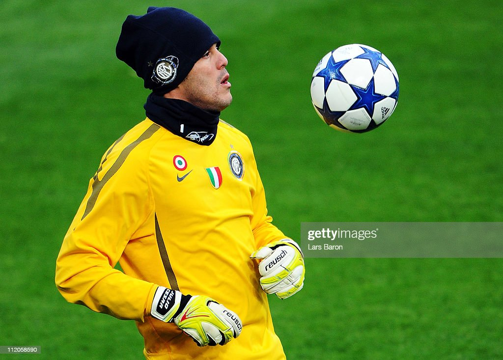 Goalkeeper Julio Cesar plays with the ball during a Inter Milan training session ahead of the UEFA Champions League quarter final second leg match against FC Schalke 04 at Veltins Arena on April 12, 2011 in Gelsenkirchen, Germany.
