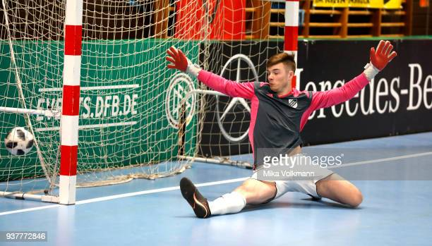 Goalkeeper Justin Strauch of Hertha Walheim gets a goal during penalty kick of the DFB Indoor Football match between VFB Eppingen and TSV Hertha...