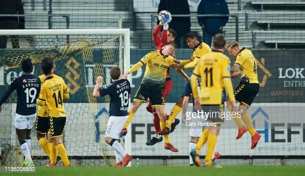 Goalkeeper Kamil Grabara of AGF Aarhus saves the ball during the Danish Superliga match between AC Horsens and AGF Aarhus at CASA Arena Horsens on...