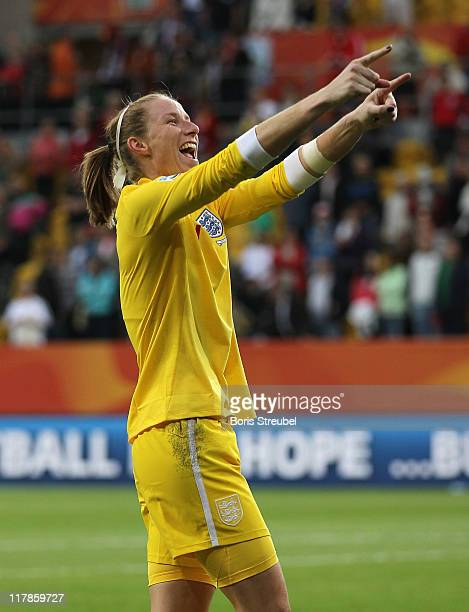 Goalkeeper Karen Bardsley of England celebrates after winning the FIFA Women's World Cup Group B match between New Zealand and England at...