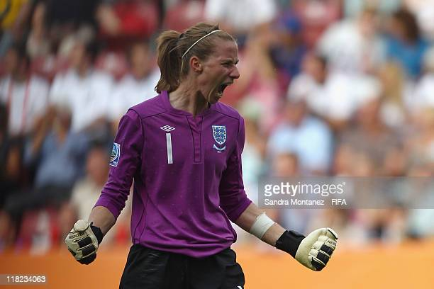 Goalkeeper Karen Bardsley of England celebrates her team's second goal to the FIFA Women's World Cup Group B match between England and Japan at FIFA...