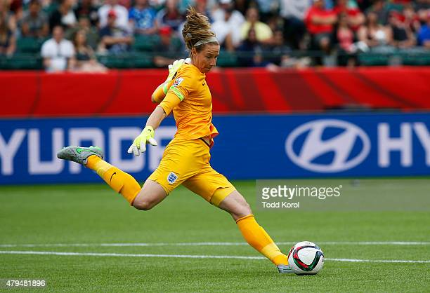 Goalkeeper Karen Bardsley of England kicks the ball during the FIFA Women's World Cup Canada 3rd Place Playoff match between England and Germany at...
