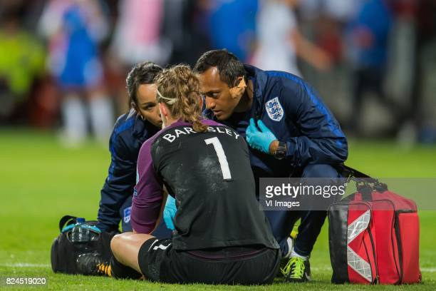 goalkeeper Karen Bardsley of England women leaves the match injured during the UEFA WEURO 2017 quarter finale match between England and France at The...