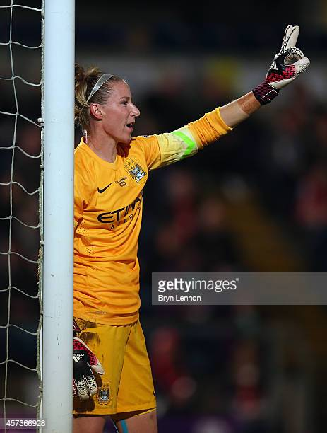 Goalkeeper Karen Bardsley of Manchester City Women instructs her team during the FA WSL Continental Cup Final between Arsenal Ladies and Manchester...