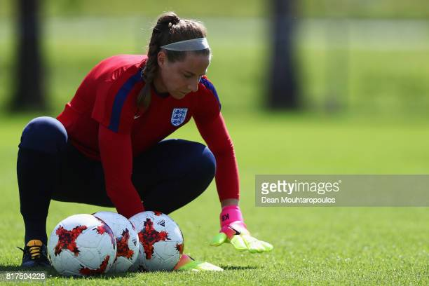 Goalkeeper Karen Bardsley of the England women's national team in action during a training session on the eve of their UEFA Women's 2017 Group D...