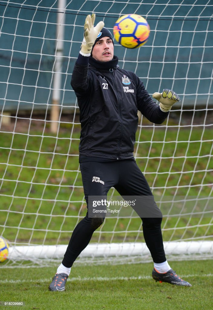 Goalkeeper Karl Darlow catches the ball during the Newcastle United Training session at The Newcastle United Training Centre on February 14, 2018, in Newcastle upon Tyne, England.