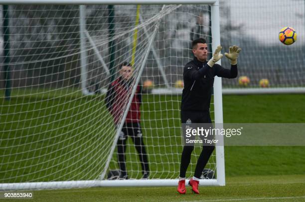 Goalkeeper Karl Darlow during the Newcastle United Training session at the Newcastle United Training Centre on January 11 in Newcastle upon Tyne...