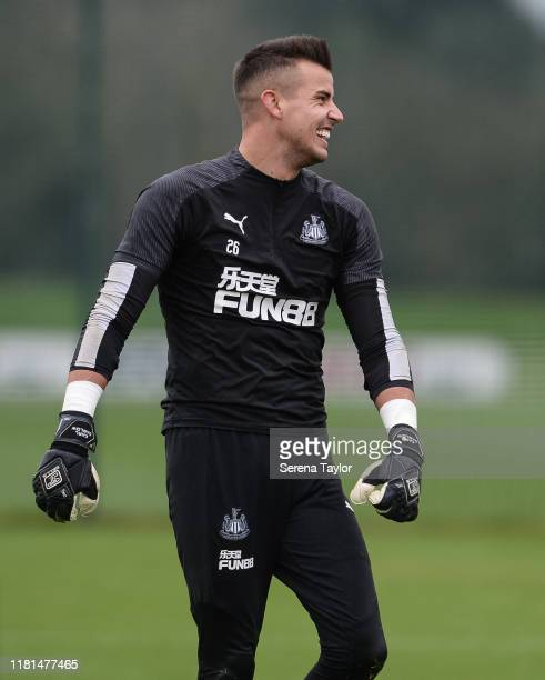 Goalkeeper Karl Darlow laughs during the Newcastle United Training Session at the Newcastle United Training Centre on October 16 2019 in Newcastle...