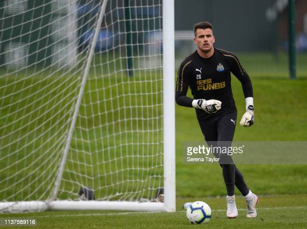 Goalkeeper Karl Darlow looks to pass the ball during the Newcastle United Training Session at the Newcastle United Training Centre on March 22 2019...