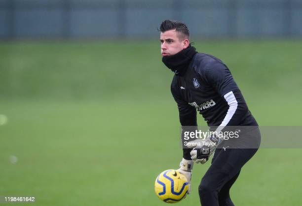 Goalkeeper Karl Darlow looks to throw the ball into play during the Newcastle United Training Session at the Newcastle United Training Centre on...