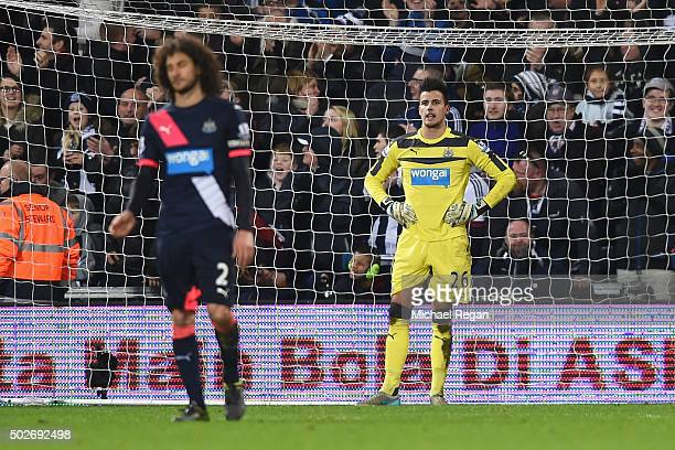 Goalkeeper Karl Darlow of Newcastle United shows his dejection after allowing the first goal to West Bromwich Albion during the Barclays Premier...