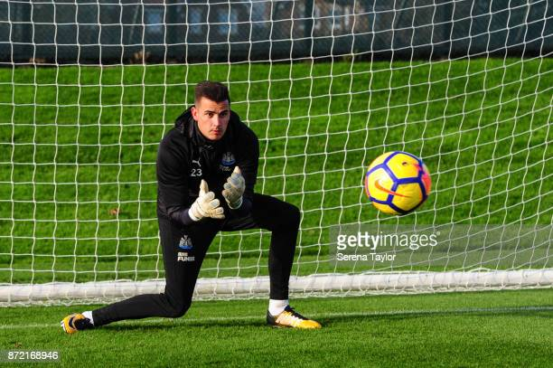 Goalkeeper Karl Darlow sets himself to catch the ball during the Newcastle United Training session at the Newcastle Untied Training Centre on...