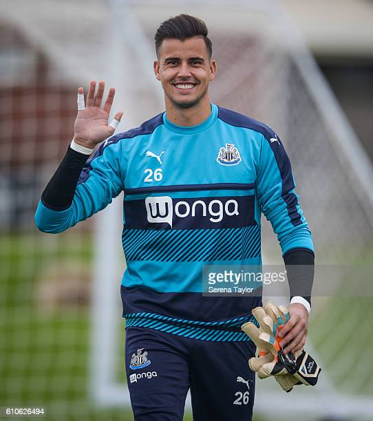 Goalkeeper Karl Darlow smiles and waves twhilst walking out to the pitch during the Newcastle United Training Session at The Newcastle United...