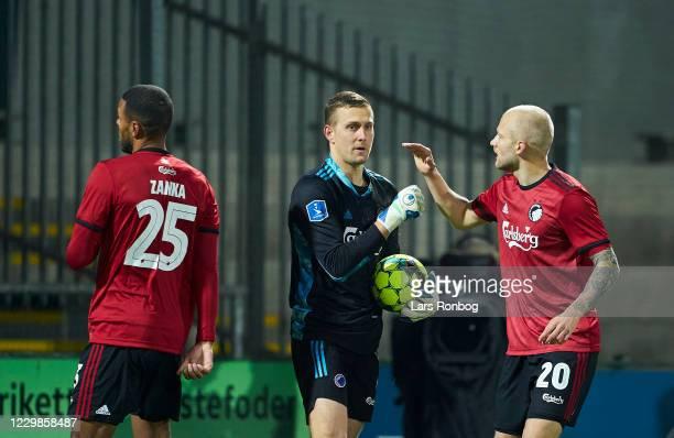 Goalkeeper Karl-Johan Johnsson of FC Copenhagen and Nicolai Boilesen of FC Copenhagen celebrate during the Danish 3F Superliga match between...