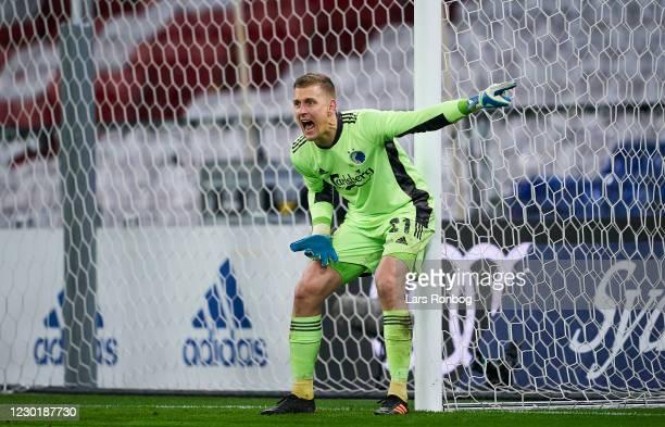 Goalkeeper Karl-Johan Johnsson of FC Copenhagen gestures during the Danish Cup Sydbank Pokalen match between FC Copenhagen and FC Midtjylland at...