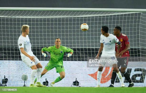 Goalkeeper Karl-Johan Johnsson of FC Copenhagen in action during the UEFA Europa League Quarter Final match between Manchester United and FC...