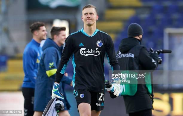 Goalkeeper Karl-Johan Johnsson of FC Copenhagen looks dejected after the Danish 3F Superliga match between Brondby IF and FC Copenhagen at Brondby...