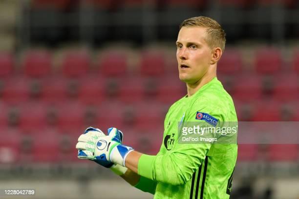 Goalkeeper Karl-Johan Johnsson of FC Kopenhagen gestures during the UEFA Europa League Quarter Final between Manchester United and FC Kobenhavn at...