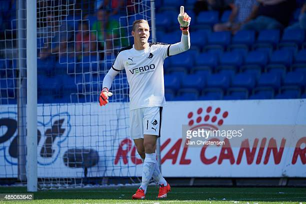 Goalkeeper KarlJohan Johnsson of Randers FC in action during the Danish Alka Superliga match between Randers FC and Viborg FF at AutoC Park Randers...