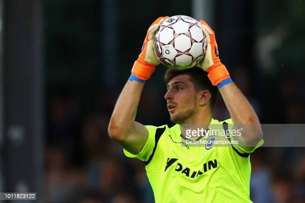 Goalkeeper Karlo Letica of Club Brugge KV in action during the Jupiler Pro League match between Royal Excel Mouscron and Club Brugge at Stade Le...
